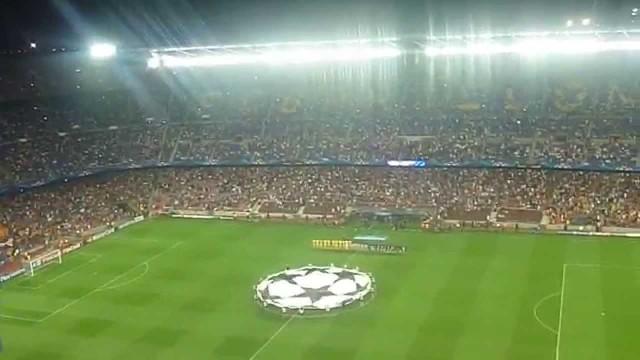 Hymn Ligi Mistrzów na Camp Nou