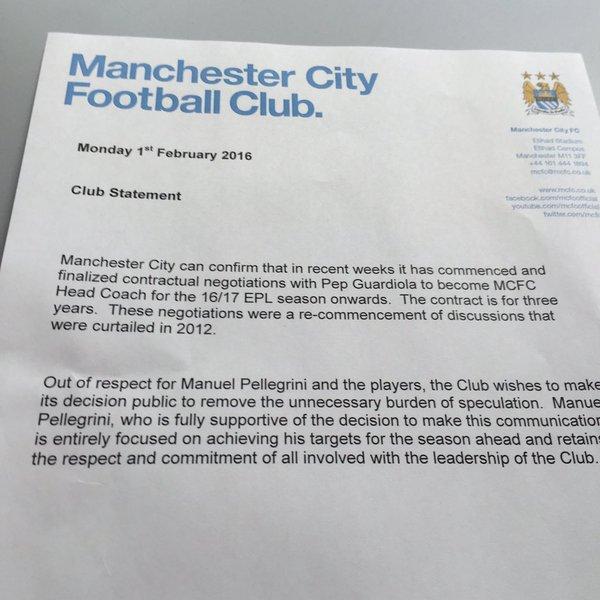 Oficjalny komunikat klubu z Manchesteru