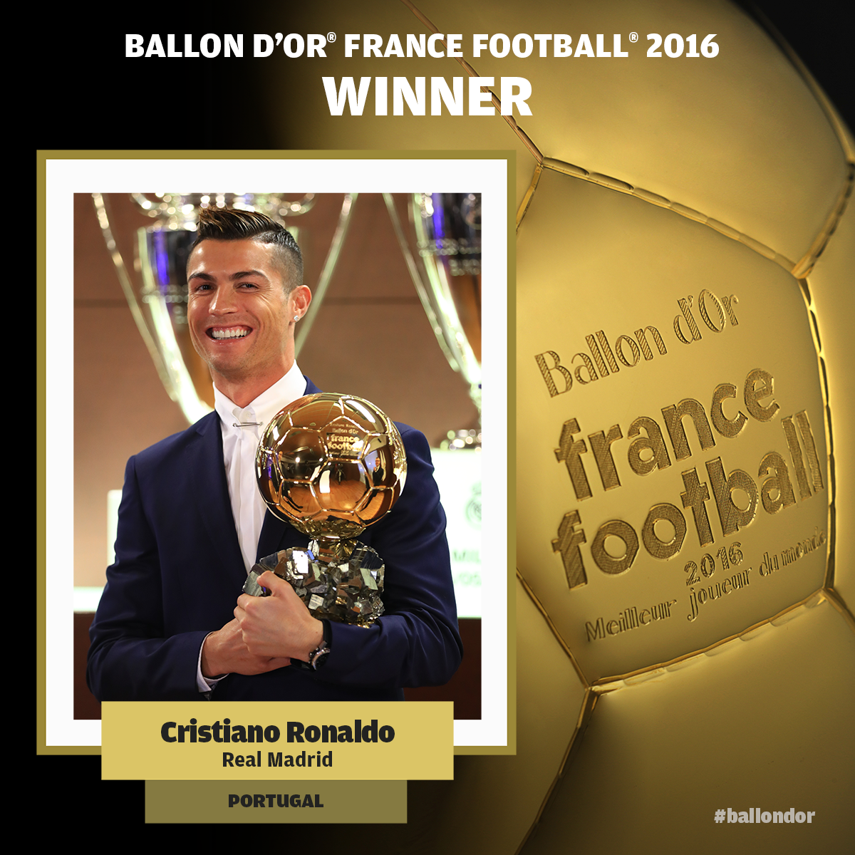 Ronaldo ze Złotą Piłką, Messi drugi