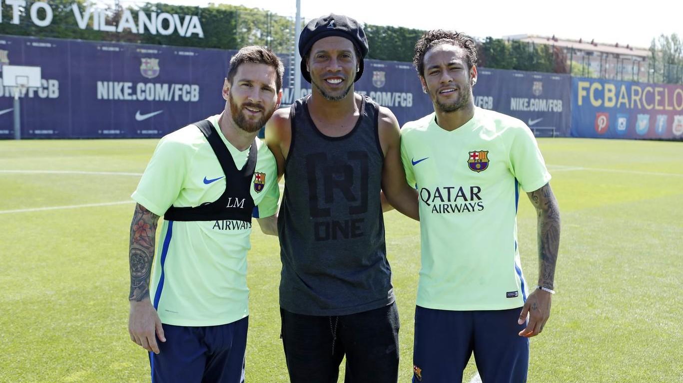 Ronaldinho na treningu Barcy