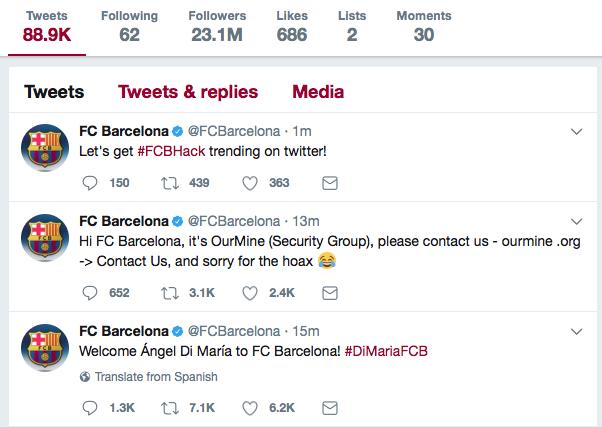 Hakerzy włamali się na konta Barcy